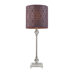 Dimond Lighting HGTV Table Lamp in Brushed Steel with Plum Drum Shade HGTV145