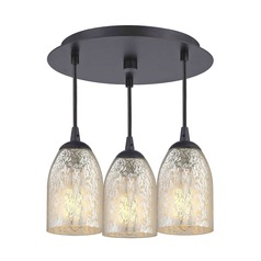 3-Light Semi-Flush Light with Mercury Dome Glass - Bronze Finish