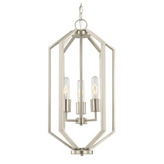 Hexagon 3-Light Chandelier - Satin Nickel Finish