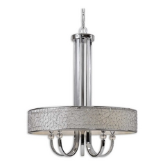 Uttermost Modern 5-Light Chandelier with Grey Shade in Nickel
