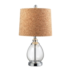 Table Lamp with Clear Glass and Cork Shade