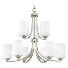 Nine Light Chandelier with Two Tiers and Satin White Cylinder Glass