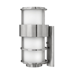 Modern Outdoor Wall Light with Etched in Stainless Steel Finish