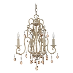 Crystal Mini-Chandeliers in Silver Leaf Finish