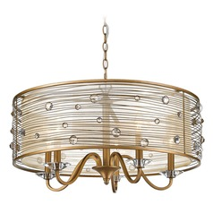 Joia 5 Light Chandelier in Peruvian Gold with a Sheer Filigree Mist Shade