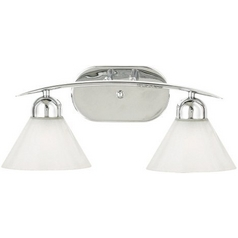 Quoizel Lighting Modern Bathroom Light with White Glass in Polished Chrome Finish DI8502C