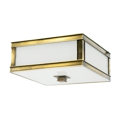 Flushmount Light with White Glass in Aged Brass Finish