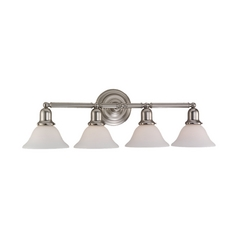 Bathroom Light with White Glass in Brushed Nickel Finish