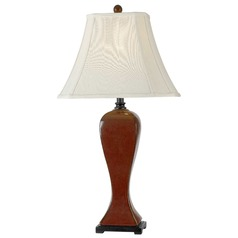 Table Lamp with Beige / Cream Shade in Crimson Red Finish