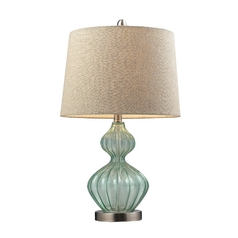 Table Lamp with Light Green Glass and Barrel Shade