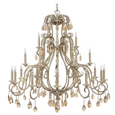 Crystal Chandelier with Beige / Cream Shades in Silver Leaf Finish