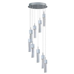 Fizz Iii Polished Chrome LED Multi-Light Pendant with Rectangle Shade