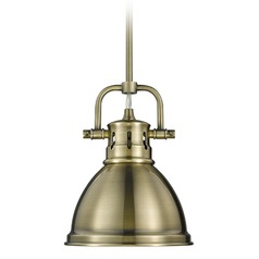 Golden Lighting Duncan Ab Aged Brass Mini-Pendant Light with Bowl / Dome Shade