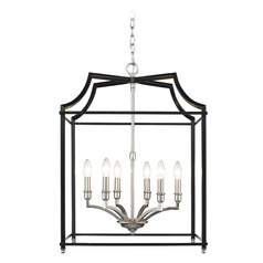 Leighton PW 6 Light Pendant in Pewter with Black