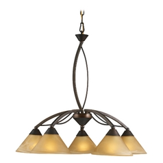 Modern Chandelier with Beige / Cream Glass in Aged Bronze Finish