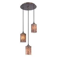 Design Classics Lighting Modern Multi-Light Pendant Light with Brown Art Glass and 3-Lights 583-220 GL1016C
