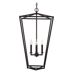 Lantern Pendant Light 4-Lt 33-Inch Tall Bronze