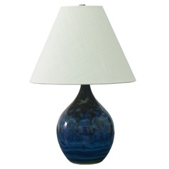 House of Troy Scatchard Midnight Blue Table Lamp with Conical Shade