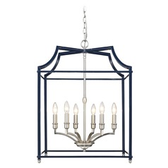 Leighton PW 6 Light Pendant in Pewter with Navy