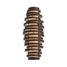 Modern Sconce with Brown Glass Shade in Bronze / Gold Leaf Finish