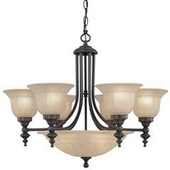 Bronze Finish Transitional Chandelier with Center Bowl