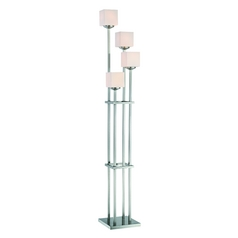 Contemporary Linear Floor Lamp with Four Lights and Square Glass
