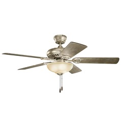 Kichler Lighting Sutter Place Select Sterling Gold Ceiling Fan with Light