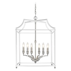 Leighton PW 6 Light Pendant in Pewter with White