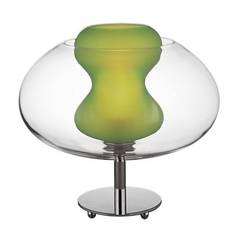 Modern Table Lamp with Green Glass in Chrome Finish
