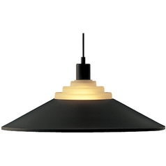 Pendant Light with Black Metal Shade in Black