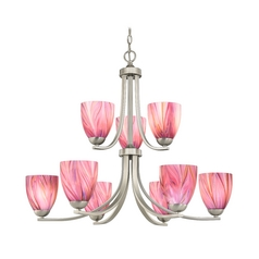 Modern Chandelier with Two Tiers and Pink Art Glass Bell Shades