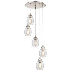Satin Nickel Multi-Light Pendant with Clear Oblong Glass and 5-Lights