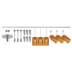 Besa Lighting Scope Amber Frosted Glass Satin Nickel LED Rail Kit