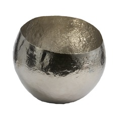 Hammered Nickel-Plated Brass Dish - Small