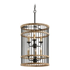 Troy Lighting Vineyard Rusty Iron with Salvaged Wood Pendant Light with Cylindrical Shade