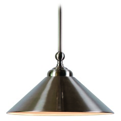 Kenroy Home Conical Brushed Steel Pendant Light with Conical Shade