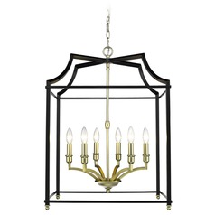 Leighton SB 6 Light Pendant in Satin Brass with Black