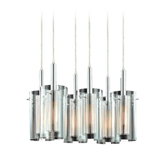 Modern Multi Light Pendant Light With Clear Glass And 5