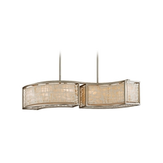 Modern Drum Pendant Light with White Paper Shades in Silver Leaf Finish