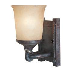 Sconce Wall Light with Beige / Cream Glass in Weathered Saddle Finish