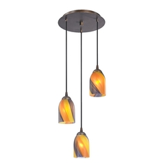 Design Classics Lighting Modern Multi-Light Pendant Light with Art Glass and 3-Lights 583-220 GL1015D