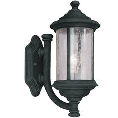 Seeded Glass Outdoor Wall Light Black 15-Inch Dolan Designs