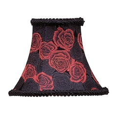 Livex Lighting S127 Black/red Rose Bell Lamp Shade with Clip-On Assembly