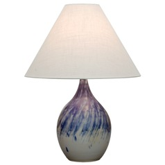 House Of Troy Scatchard Decorated Gray Table Lamp with Conical Shade