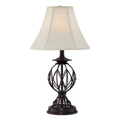Lite Source Berne Antique Bronze Table Lamp with Bell Shade