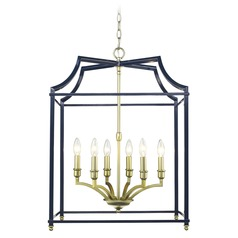 Leighton SB 6 Light Pendant in Satin Brass with Navy