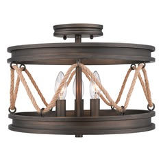 Golden Lighting Chatham Gunmetal Bronze Semi-Flushmount Light