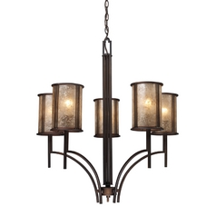 Five-Light Chandelier with Mica Shades