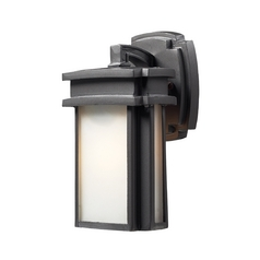 Outdoor Wall Light with White Glass in Graphite Finish