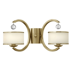 Sconce Wall Light with White Glass in Brushed Caramel Finish